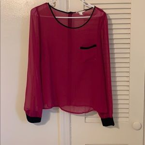 Pink & black long sleeve blouse!
